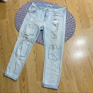 7 For All Mankind Ripped Boyfriend Jeans Sz29